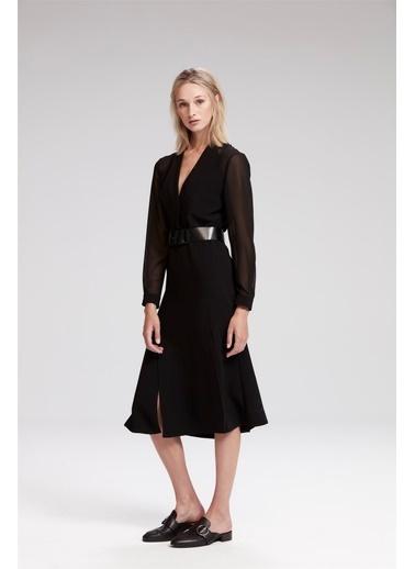 Kolları Şifon Detaylı Uzun Elbise-Rue